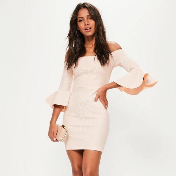 a9da38eff42 Missguided Dresses | Nude Bardot Fishnet Frill Bodycon Dress | Poshmark